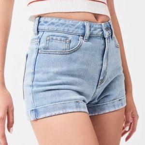 Light Denim Wash Cuffed Stretchy Jean Shorts